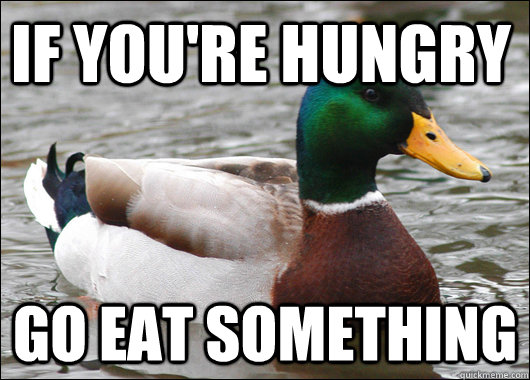 if youre hungry go eat something - Actual Advice Mallard