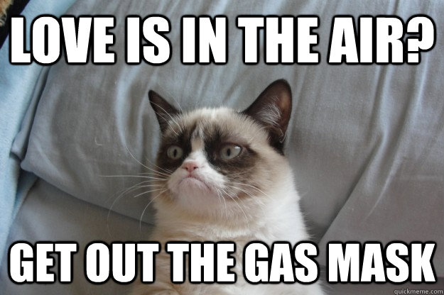 love is in the air get out the gas mask - Grumpy Cat