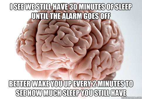 i see we still have 30 minutes of sleep until the alarm goes - Scumbag Brain
