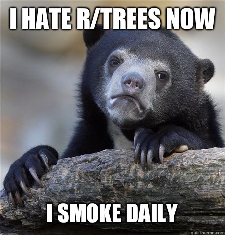 I HATE RTREES NOW I SMOKE DAILY - Confession Bear