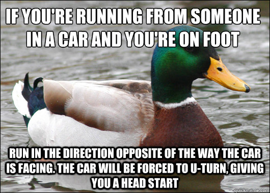 if youre running from someone in a car and youre on foot r - Actual Advice Mallard