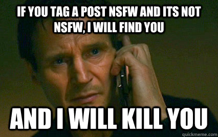 if you tag a post nsfw and its not nsfw i will find you an - Angry Liam Neeson
