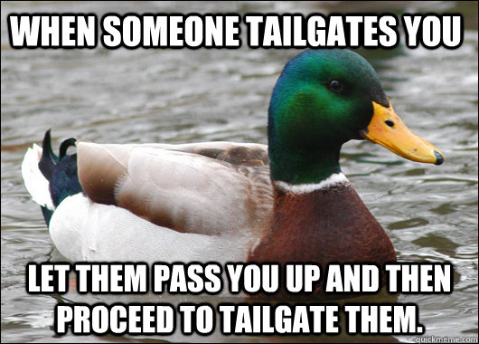 when someone tailgates you let them pass you up and then pro - Actual Advice Mallard