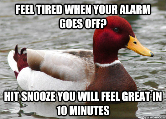 feel tired when your alarm goes off hit snooze you will fee - Malicious Advice Mallard