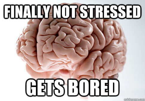 finally not stressed gets bored - Scumbag Brain