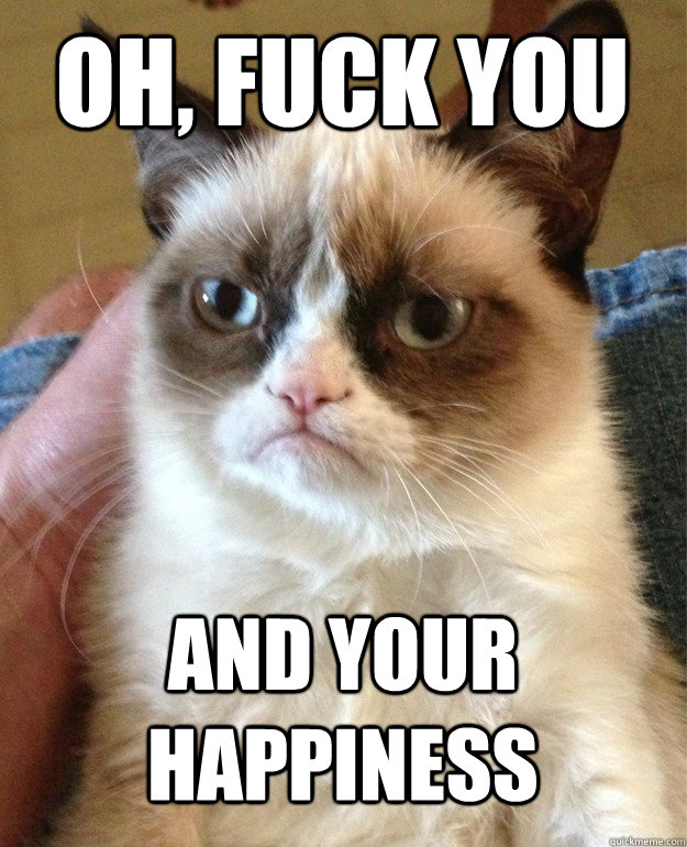 oh fuck you and your happiness - Grumpy Cat