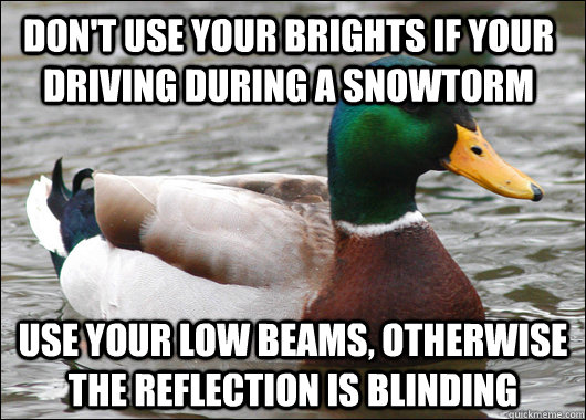 dont use your brights if your driving during a snowtorm use - Actual Advice Mallard