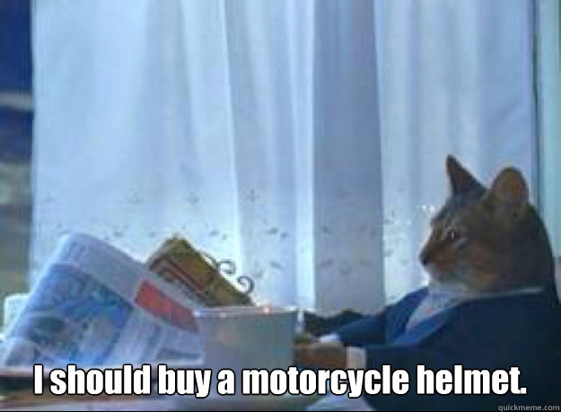 i should buy a motorcycle helmet  - I should buy a boat cat