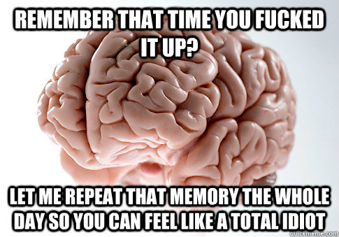 remember that time you fucked it up let me repeat that memo - Scumbag Brain