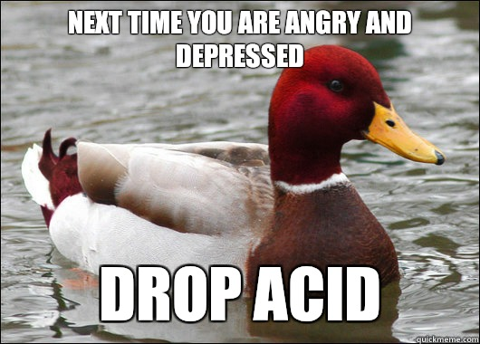 Next time you are angry and depressed Drop acid - Malicious Advice Mallard