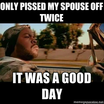 only pissed my spouse off twice - ICECUBE