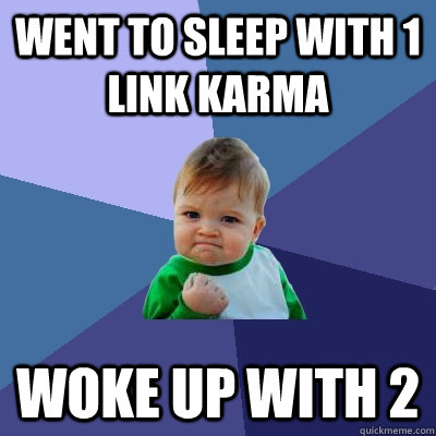 went to sleep with 1 link karma woke up with 2 - Success Kid