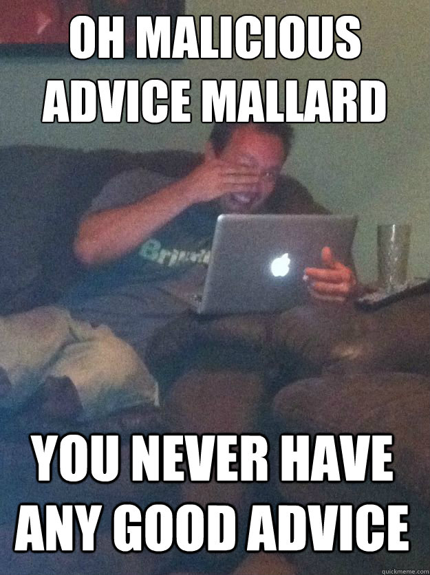 oh malicious advice mallard you never have any good advice - Meme Dad