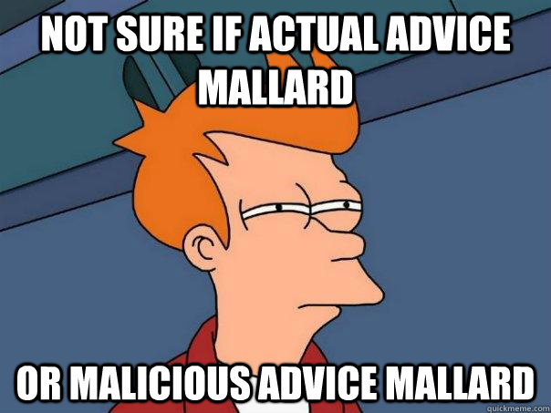 not sure if actual advice mallard or malicious advice mallar - Futurama Fry