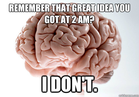 remember that great idea you got at 2 am i dont - Scumbag Brain