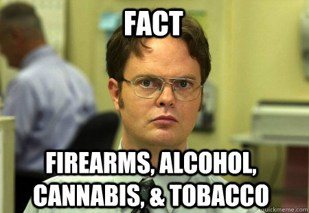 fact firearms alcohol cannabis tobacco - Schrute