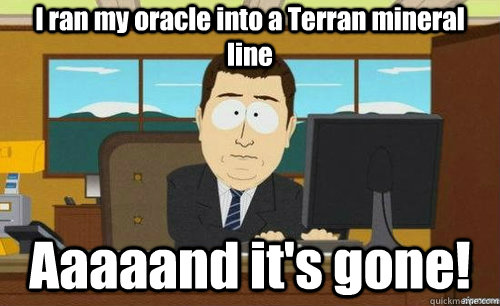 i ran my oracle into a terran mineral line aaaaand its gone - anditsgone