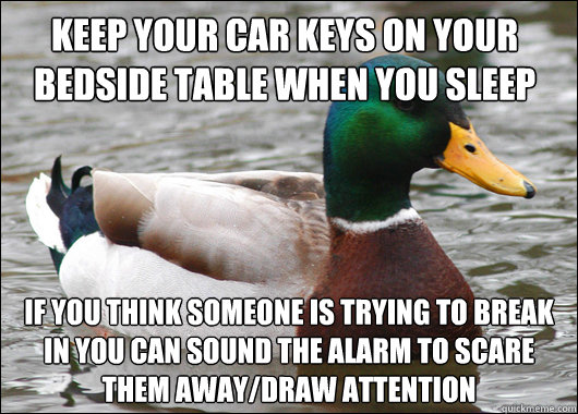 keep your car keys on your bedside table when you sleep if y - Actual Advice Mallard