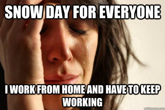 snow day for everyone i work from home and have to keep wor - First World Problems
