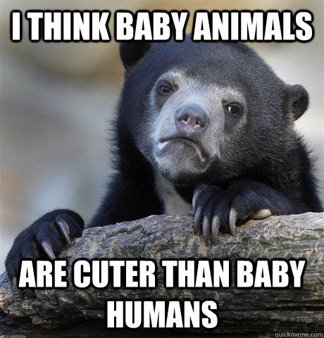 i think baby animals are cuter than baby humans - confessionbear