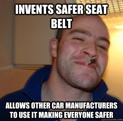invents safer seat belt allows other car manufacturers to us - GGG plays SC