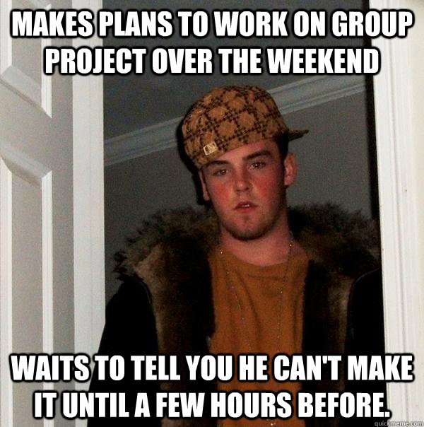 makes plans to work on group project over the weekend waits  - Scumbag Steve