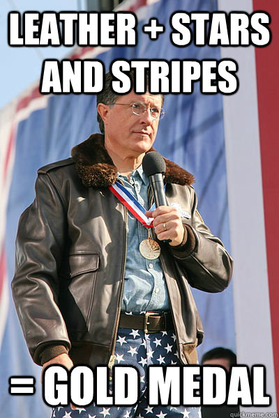 leather stars and stripes gold medal - faggot colbert