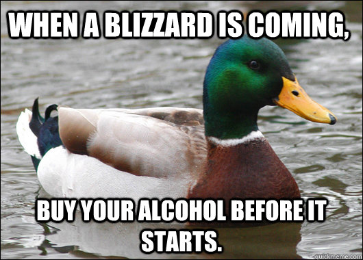 when a blizzard is coming buy your alcohol before it starts - Actual Advice Mallard