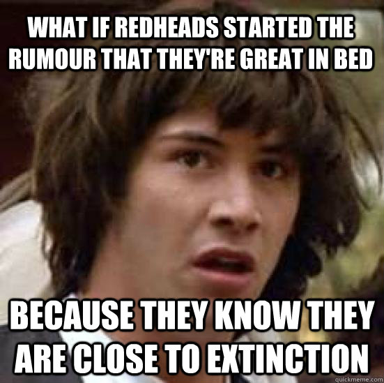 what if redheads started the rumour that theyre great in be - conspiracy keanu