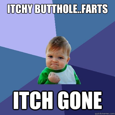 itchy buttholefarts itch gone - Success Kid