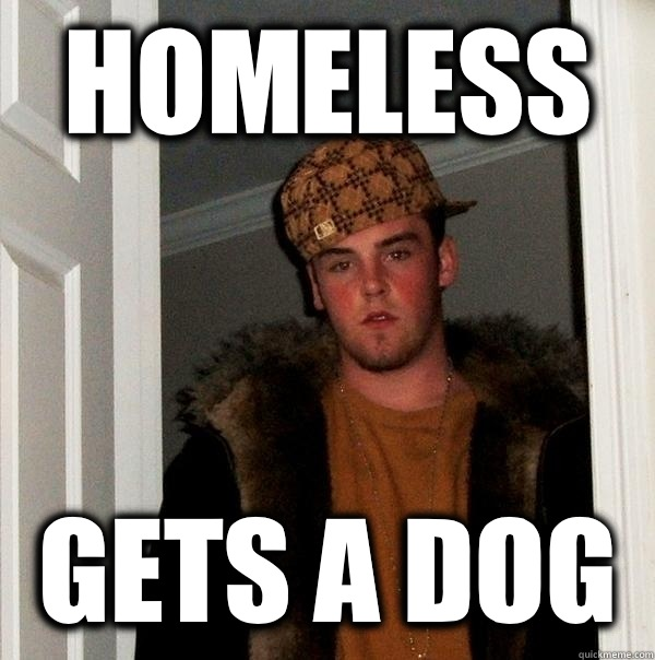 Homeless Gets a dog - Scumbag Steve