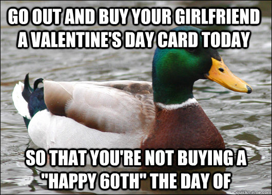 go out and buy your girlfriend a valentines day card today  - Actual Advice Mallard