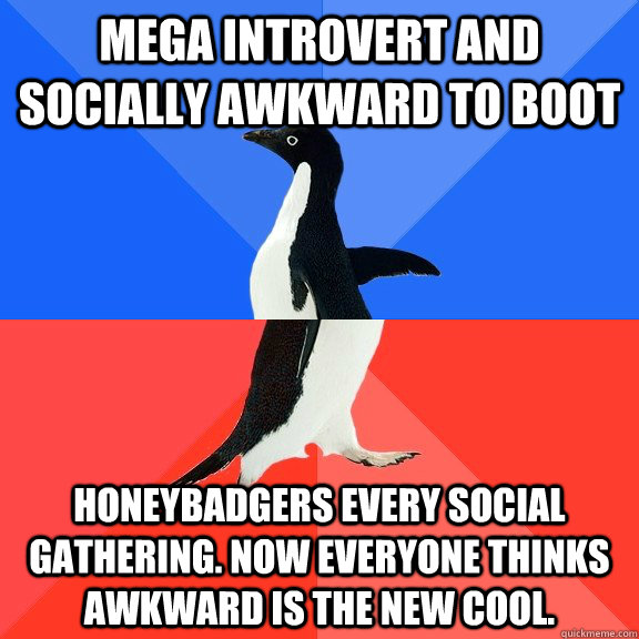 mega introvert and socially awkward to boot honeybadgers eve - Socially Awkward Awesome Penguin