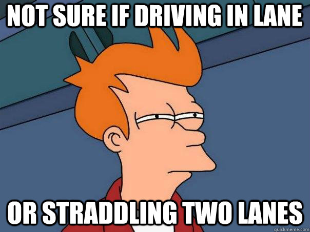 not sure if driving in lane or straddling two lanes - Futurama Fry