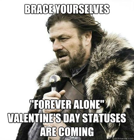 brace yourselves forever alone valentines day statuses ar - braceyouselves