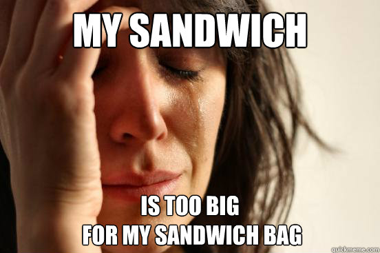 my sandwich is too big for my sandwich bag - First World Problems