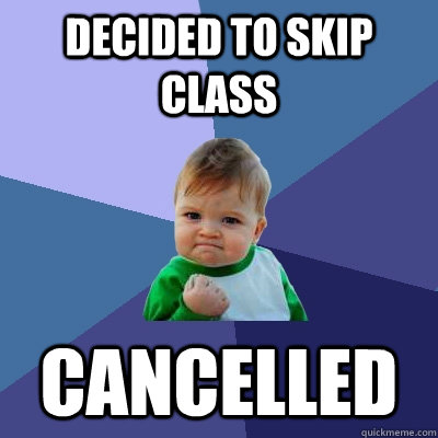 decided to skip class cancelled - Success Kid