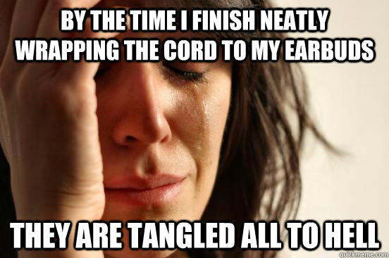 by the time i finish neatly wrapping the cord to my earbuds  - First World Problems
