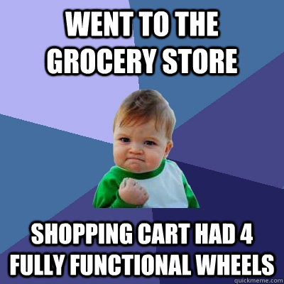 went to the grocery store shopping cart had 4 fully function - Success Kid