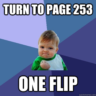 turn to page 253 one flip - Success Kid