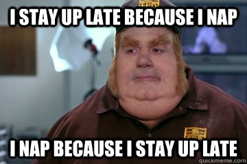 i stay up late because i nap i nap because i stay up late - Fat Bastard awkward moment
