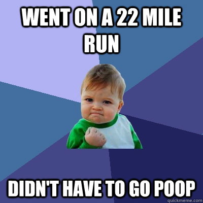 went on a 22 mile run didnt have to go poop - Success Kid