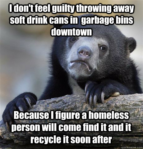 i dont feel guilty throwing away soft drink cans in garbag - Confession Bear