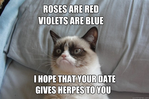 roses are red violets are blue i hope that your date gives  - GrumpyCatOL