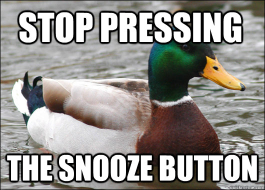 stop pressing the snooze button - Actual Advice Mallard