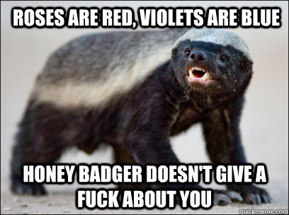 roses are red violets are blue honey badger doesnt give a - Honey Badger MAD