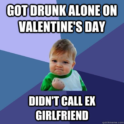 got drunk alone on valentines day didnt call ex girlfriend - Success Kid