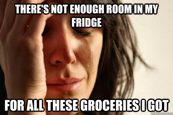 theres not enough room in my fridge for all these groceries - First World Problems