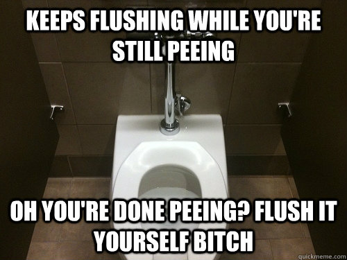 keeps flushing while youre still peeing oh youre done peei - 
