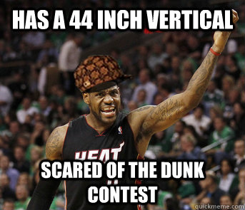 has a 44 inch vertical scared of the dunk contest - Scumbag Lebron